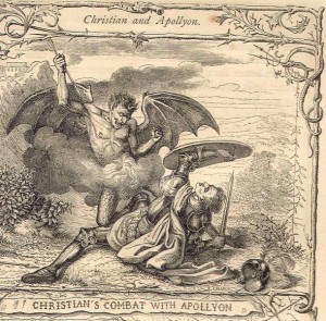 Apollyon (top) battling Christian in John Bunyan's The Pilgrim's Progress.