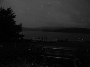 This photo was taken of my friends fishing at night, though the photo looks mysterious ... it is just of a beach during a rainfall.